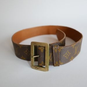 Vintage Faux LOUIS VUITTON  Belt w/Brass Buckle